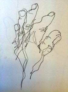 My left hand drawn without looking!  (soft pencil)