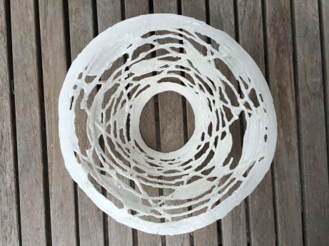 Porcelain light shade with lattice work and fish forms
