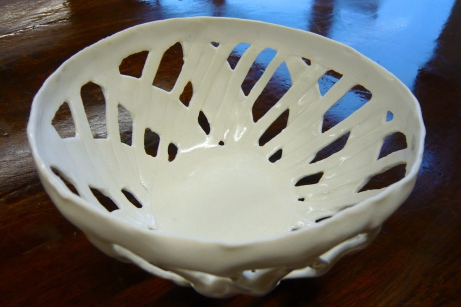 Glazed latticed porcelain bowl