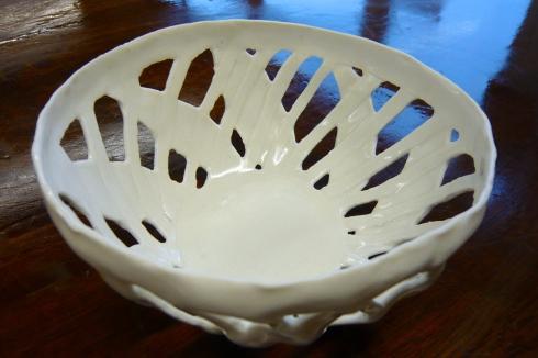 Glazed latticed porcelain bowl