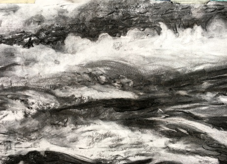 Charcoal on paper close -up