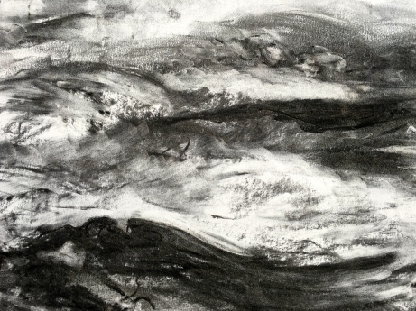 Charcoal on paper close up